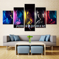 5 Pieces Power Rangers The Family Decoration Print In The Oil Painting On Canvas Art Picture