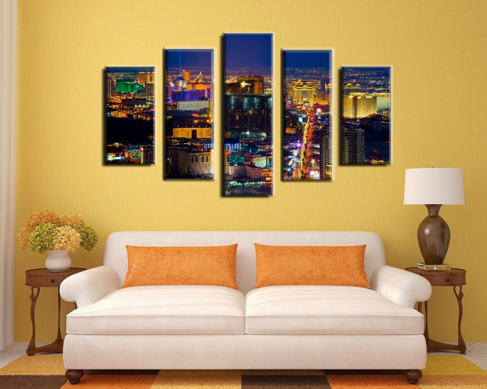 NAN Wind oil painting city light colorful Wall art night at the most ...