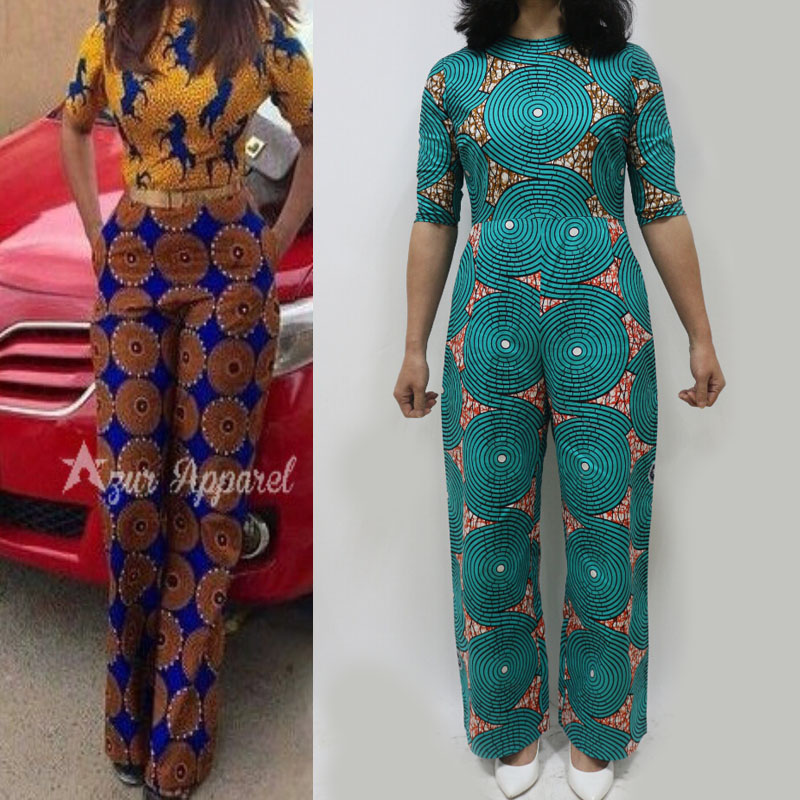 sp6056 beautiful and cheap african women jumpersuit with circle print african hot selling jumpersuit good quality %100 cotton ...