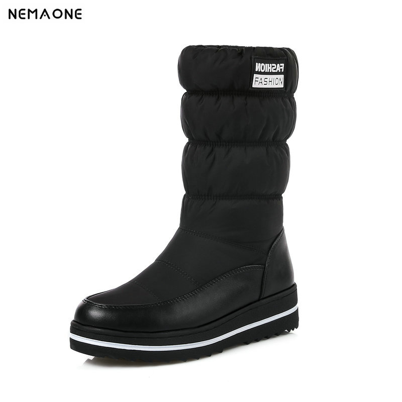 все цены на NemaoNe Plus size 35-44 new snow boots women warm cotton down shoes waterproof boots fur platform mid calf boots black онлайн