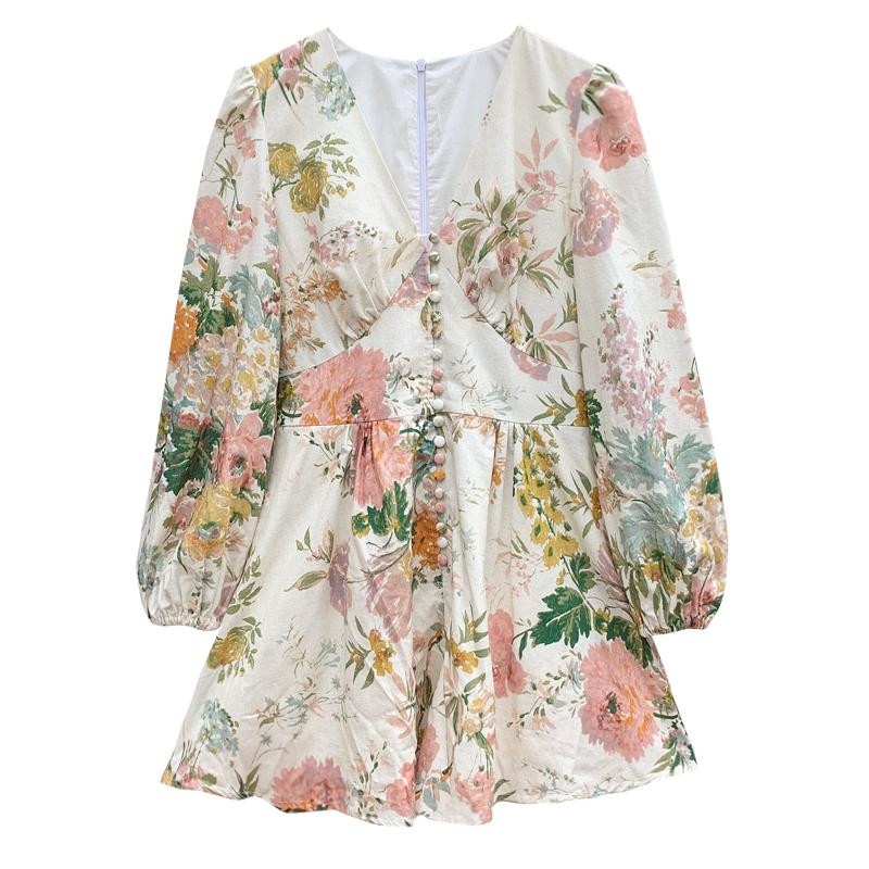 Fashion Runway Holiday Rompers Female Sexy V Neck High Waist Short Jumpsuit Elegant Womens Long Sleeve Vintage Floral Playsuits
