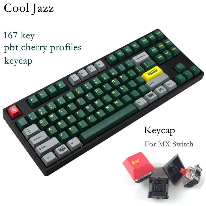 Cool Jazz 167 keys hot Sublimation green train pbt keycaps for MX switch gaming mechanical keyboard