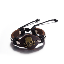 2017 New Cuff Unisex Bracelet Vintage Alloy Cross Wrap Bracelet Leather Bracelet Vintage Skull Bangle Handmade Jewelry for Gift