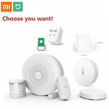 цена на Xiaomi Smart Home Kit Mijia Gateway Door Window Human Body Sensor Temperature Humidity Sensor Wireless Switch Zigbee Socket cube