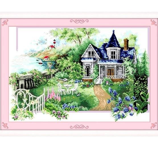 printemps t automne hiver jardin point de croix kit bricolage 4 saisons aiguille pittoresque. Black Bedroom Furniture Sets. Home Design Ideas