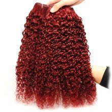 Red 99J Bundle With Closure Peruvian Kinky Curly Human Hair Weave Burgundy 3 Bundles With Lace Closure No Shed Non Remy