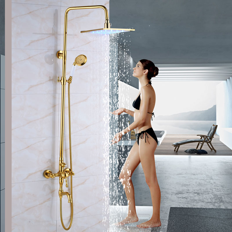 Wall Mounted LED light 12 Large Shower Head Bath and Shower Faucet Set Single Lever with Spout Tap Handshower Shower Kit