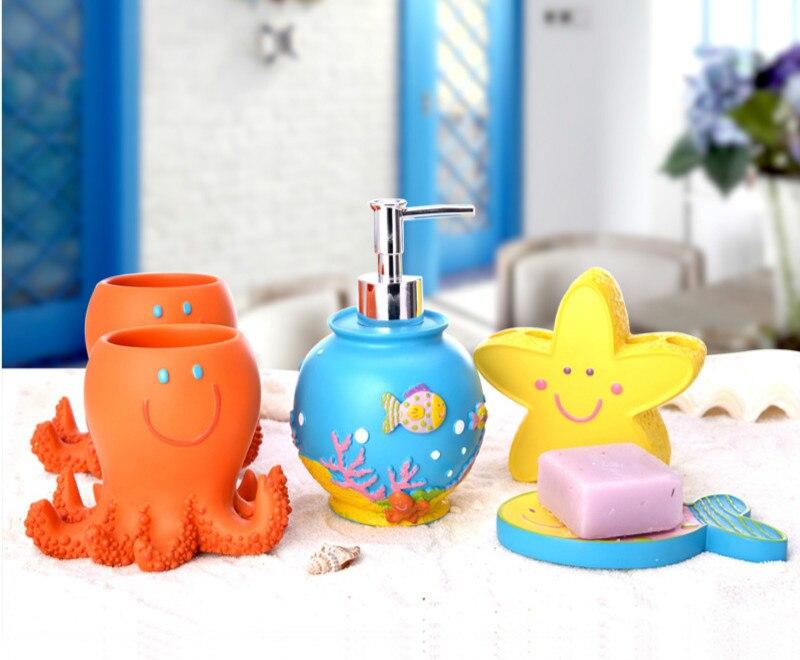 5 Pcs Set Creative Underwater World Series Bathroom Supplies Wash Set Mediterranean Style Resin Bathroom Accessories