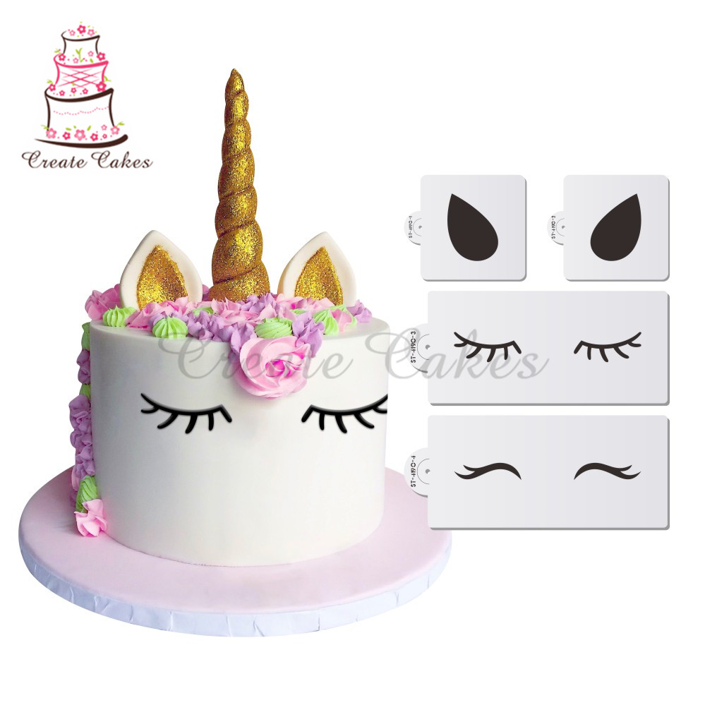 Unicorn Eyes & Ears Decorating Cookie Stencil Set,  Stencil For Cupcake Decorating,Stencil Set, Fondant Cake Decorations