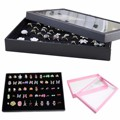 100 Slots Ring Storage Ear Pin Display Plate Box Jewelry Cufflinks Organizer Holder Show Case Tray Black Velvt 29x18.5x4cm