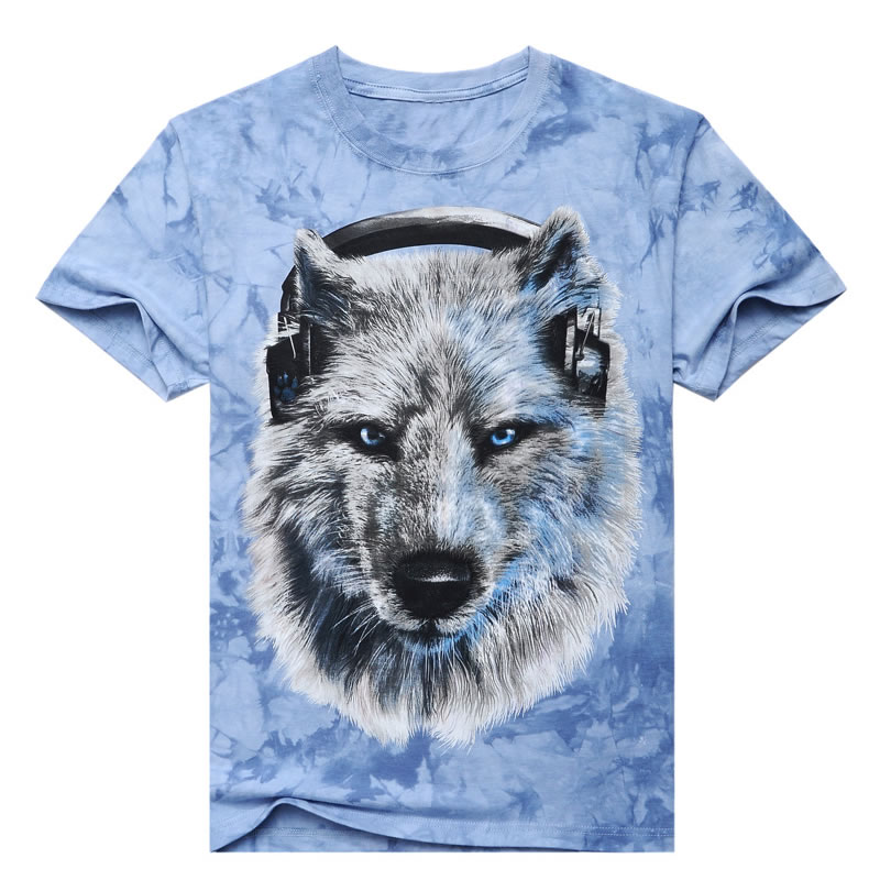 2017 Wolf Short Sleeve 3D Full Print Fashion Men T-shirt Cotton O-neck Animal Man Tees Summer T Shirt Casual Tie dye Funny A808