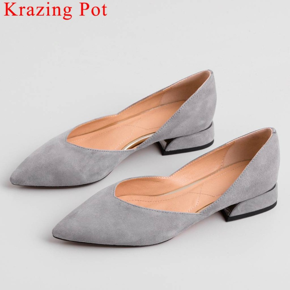 Krazing Pot concise style slip on large size pointed toe comfortable natural leather low heels dating