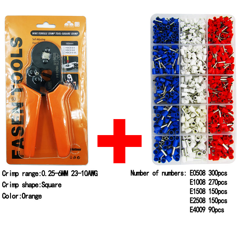 Купить с кэшбэком 6-4A 0.25-6mm 23-10AWG Square Tube Bootlace Terminal Crimping Pliers Crimp Hand Tools HSC8