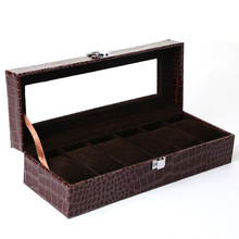 Коричневый Крокодил Роскошные коробка для хранения ящики с изображениям чехол 6 сетки коробки для часов коробка-витрина для часов шкатулка для украшений Органайзер-коробка для хранения