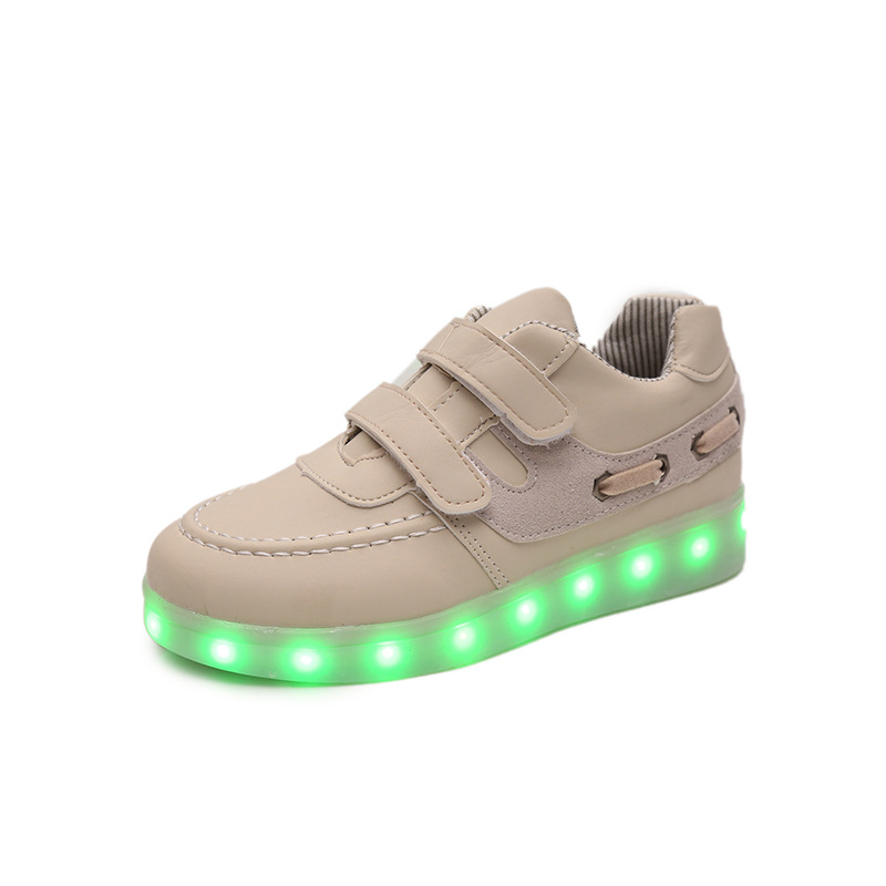 2017 Children PU Shoes with Led Light New Brand Boys Girls Luminous Fashion Sneakers Kids USB Charging Glowing Canvas Shoes