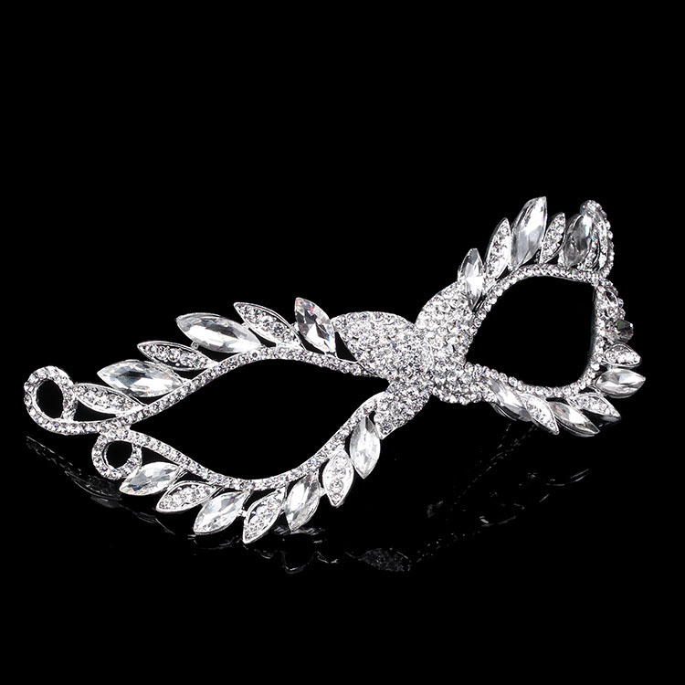Shining Mascaras Gothic Veil Austria Crystal Silver Cosplay Holloween Mask Party Prom Face Wedding Jewelry Masquerade