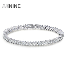 AENINE Luxury Wedding Bracelet Jewelry Rome Style Cubic Zirconia Prongs Bracelets & Bangles Gold-color Lady Bijoux B150310700P
