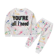 Kids Clothes 2019 new Spring Autumn Cotton sportswear Printed long-sleeved clothes+ Pants 2-3-4-5-6-7 years Baby Girl Clothes