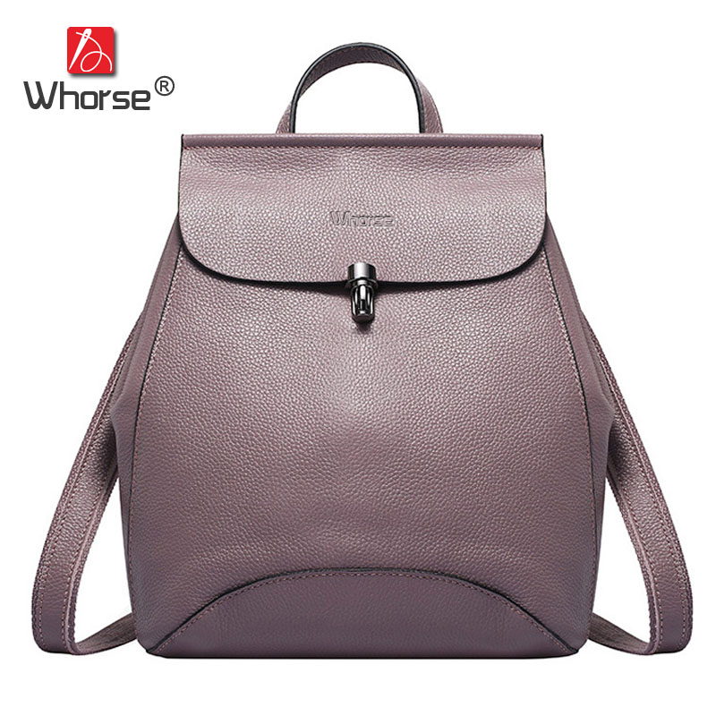 цена на Famous Brand Natural Cowhide Womens Backpack Designer School Bags Cover Ladies Casual Genuine Leather Backpacks Back Pack W07740