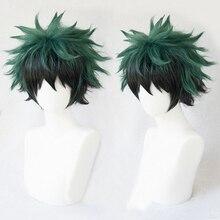My Hero Academy Boku no Hiro Akademia Izuku Midoriya короткий зеленый черный Ombre термостойкий косплей костюм парик+ дорожка+ Кепка