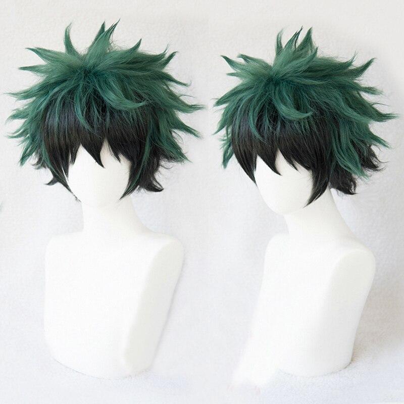 Meu herói academia boku não hiro akademia izuku midoriya curto verde preto ombre resistente ao calor cosplay traje peruca + faixa boné