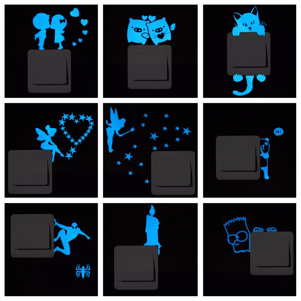 Azul-luz Luminosa Etiqueta Interruptor Home Decor Cartoon Glowing Pegatinas de P
