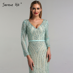 Image 4 - 2020 Long Sleeves Luxury Sparkly Tulle Evening Dresses V Neck Mermaid Beading Sequined Evening Gown Real Photo LA6396