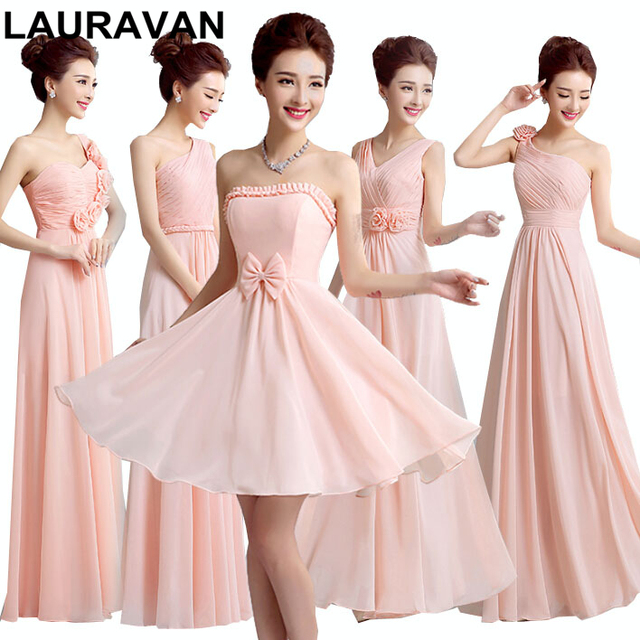 Sister Of The Bride Greek Style Long Princess Peach Bridesmaid Dresses Chiffon Gowns Floor Length Dress