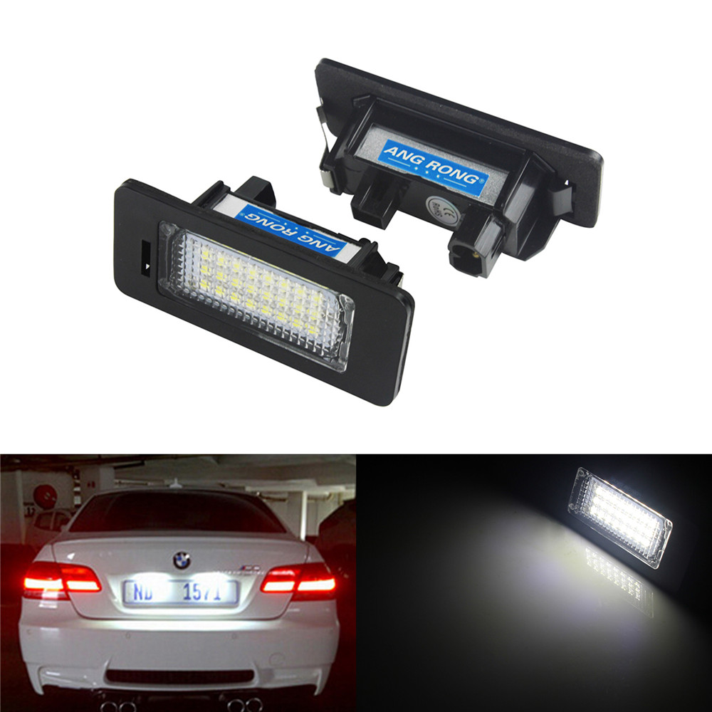 ANGRONG 2x For BMW 3 5 Series Canbus LED License Number Plate Light Lamp E39 E60 E61 E90 E92 2pcs led license plate light lamp 24 smd led license plate light lamp white error free for bmw e39 e60 e61 e90 e91 m3 m5 x5 x6