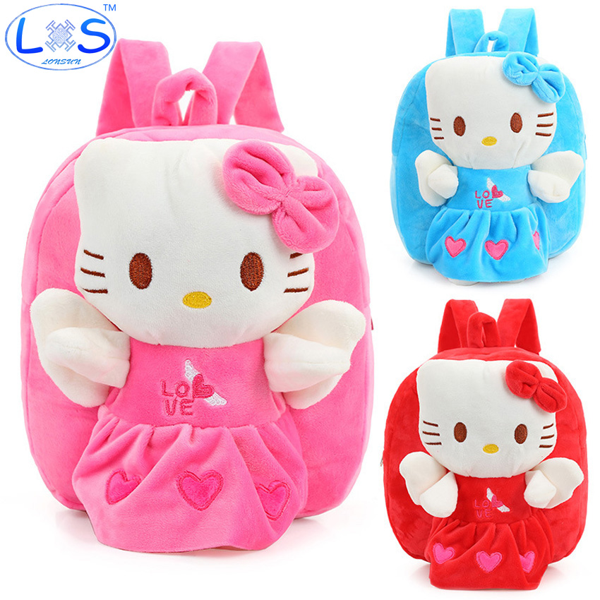 (LONSUN)Hello Kitty Plush Backpack 22*9*25cm stuffed & plush 3 Colors Kids Plush Backpack Toys Office supplies Childrens Gifts