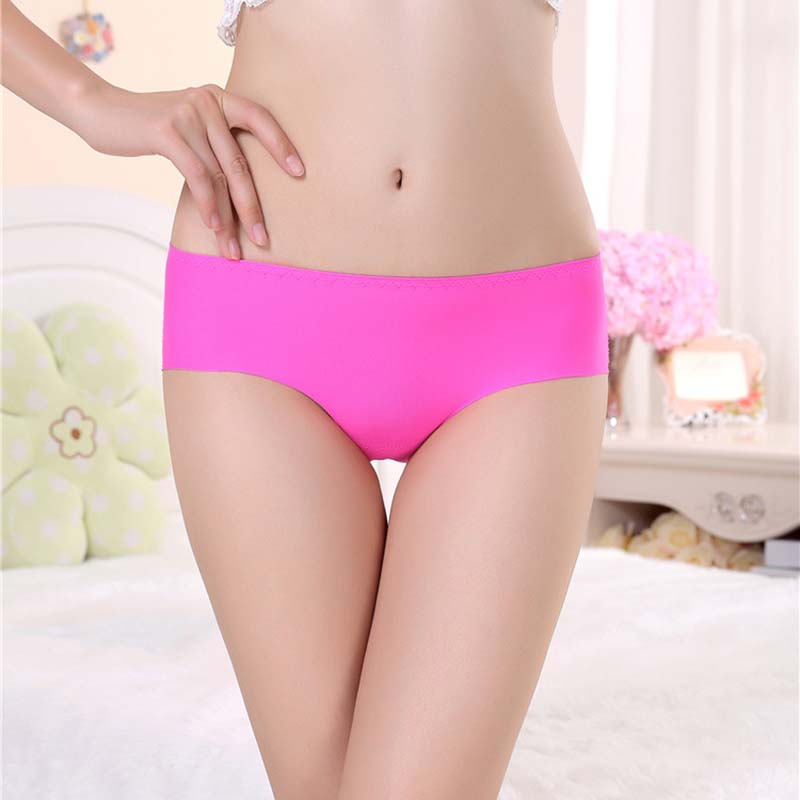 Buy Women Ice Silk Panties Sexy Thongs Underwear G String Sexy Briefs Slice Non-Trace Mid Waist Cotton Crotch Underpants