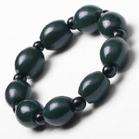 Natural Dark Green Hetian Jade Bracelet With Round Beads Women Men S Gift Bracelets Nephrite Qing