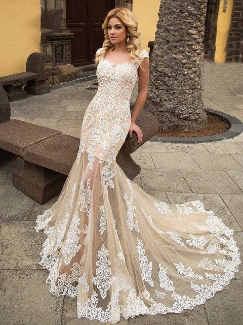Sexy Illusion dentelle sirène robes de mariée Champagne 2019 élégant encolure dégagée Appliques Cap manches Vintage trompette robes de mariée