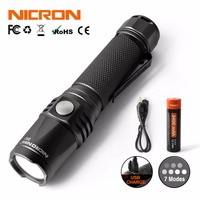 NICRON Mini 9W Super Brightness Portable Flashlight Light Waterproof IPX8 5200cd 900LM LED USB Rechargeable Torch