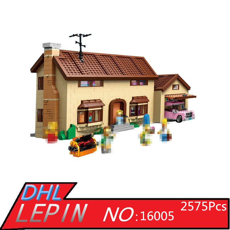 Simpsons House Model Building Block Bricks LEPIN 16005 2575Pcs Kits Educational Toys for Children Compatible 71006 Boy Gift decool 3114 city creator 3in1 vehicle transporter building block 264pcs diy educational toys for children compatible legoe