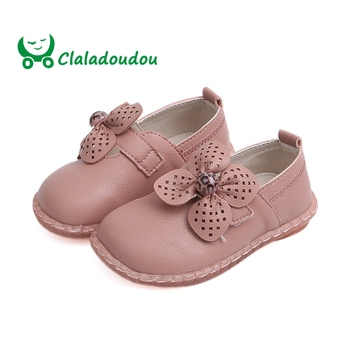 Claladoudou 13.5-15.5CM 2019 Spring Autumn Kids Footwear Flower Pure Toddler Dress Shoes Soft Cow Muscle Extra Wide Shoes Infant