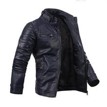 Для мужчин прохладный мульти-карман Slim Zip пальто Искусственная кожа мотоцикл байкер куртка
