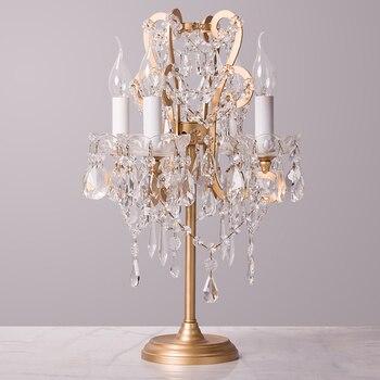 Французская Винтажная настольная лампа из кованого железа с кристаллами прикроватная лампа для спальни детская настольная лампа принцесс...