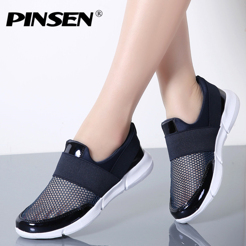 PINSEN Brand Casual Women Shoes Breathable Summer Flat Shoes Woman Slip on Loafers Shoes Zapatillas hombre Moccasins slipony pinsen brand high quality women genuine leather shoes slip on flats handmade shoes loafers mocassin flat women s shoes slipony