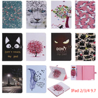 For Coque iPad 2 Case iPad 3 Case iPad 4 Case Cute Cat PU Leather Folio Flip Stand Case Cover for iPad 2 3 4 with Card Slot