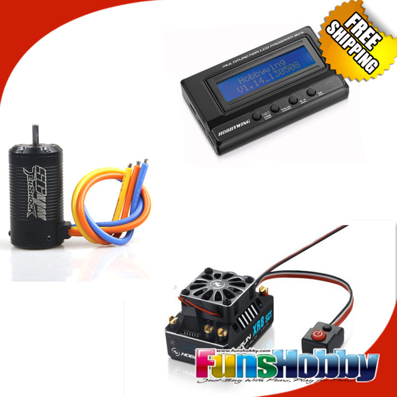 Tenshock SC411 Brushless Sensor 4 Pole Motor Hobbywing XR8 SCT 140A Brushless ESC Speed Control Controller+3IN1 LCD Program Card 1 8 super permium power combo incl tenshock x812l sensor dc motor