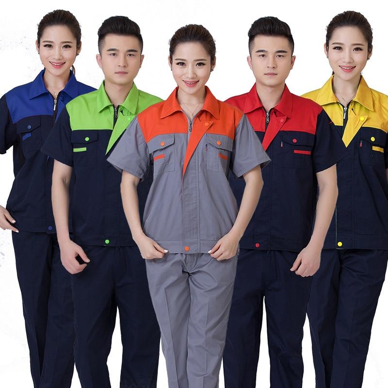 Men Women Work Clothing Sets Short Sleeve Jackets Work Pant Workwear Suits Summer Factory Car Repair