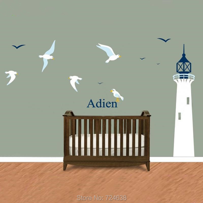 Lighthouse Vinyl Wall Decal Custom Name Infant and Children's Wall Decal Nautical Decor for Bedroom & Playroom Size 359x225CM
