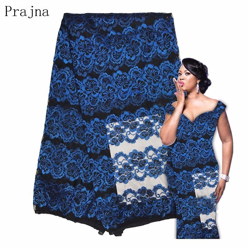 Prajna 2018 Latest High Quality Gold Royal 3D Jacquard Embroidered Wedding Dress Lace African Nigerian French Net Laces Fabric