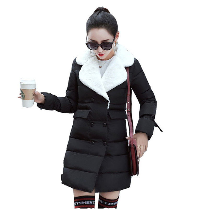2017 New Winter Cotton Jacket Women Parkas Ladies Casual Coat long Soft Solid Outwear Slim Wadded Warm Overcoat RE0050 2017 new winter women warm hooded thicken slim wadded jacket woman parkas female ladies wadded overcoat long cotton coat cxm31