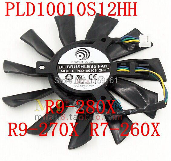 US $10 33 13% OFF|Free Shipping PLD10010S12HH 94mm MSI R9 280X R9 270X R7  260X graphics card fan-in Fans & Cooling from Computer & Office on