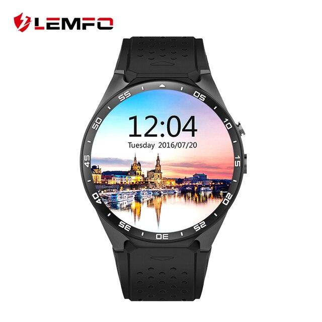 Nova lemfo kw88 android 5.1 os smart watch phone mtk6580 rom 4 GB + RAM 512 MB 1.39 polegada 400*400 Tela Câmera 2.0MP Smartwatch