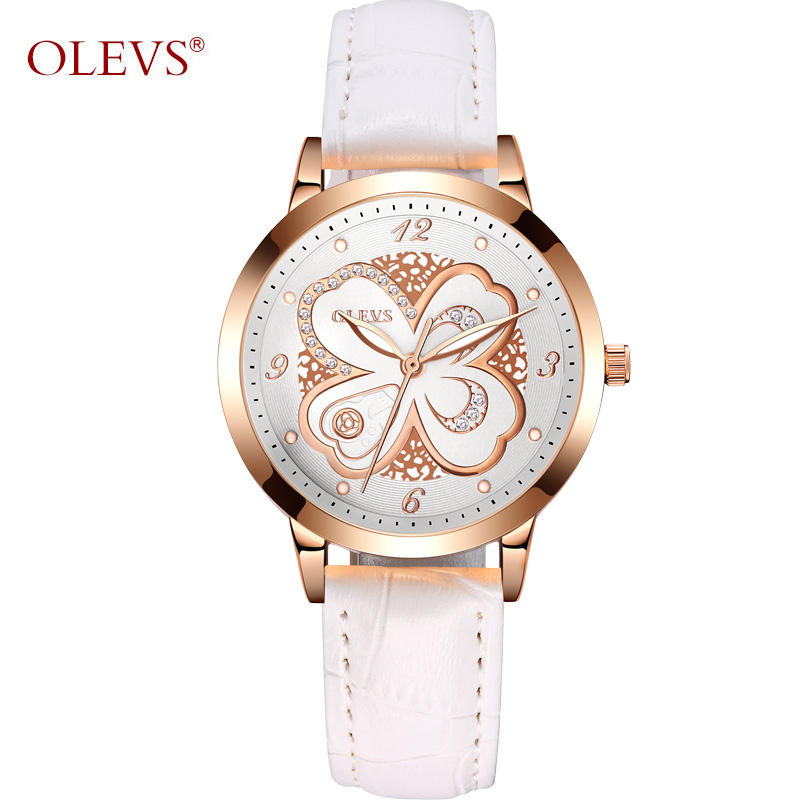 OLEVS Luminous Ladies Watches Top Brand Luxury Gold Dial Creative Watch Flowers Leather Strap Women Watches Clocks reloj mujer olevs 5873 luxury hollow out dial watch women luminous hands golden quartz watches leather wristwatch ladies clock reloj mujer