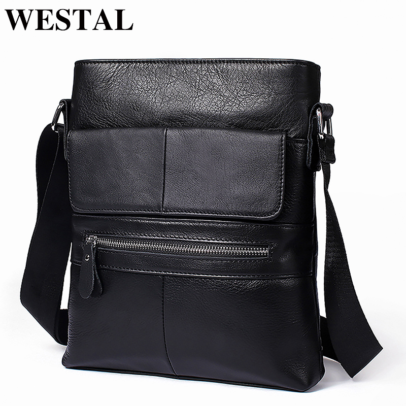 WESTAL Genuine Leather Men Bag Messenger Bag Men's Shoulder Bags Male Flap ipad Casual Black Crossbody Bags for Men Bolsa 8120