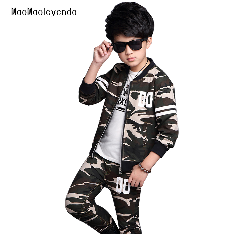 2017 Big Boys Camouflage Sports Suits Spring Tracksuits Teenage Boys Sportswear 4 6 8 10 12 14 16 Years Children Clothing Sets  children clothing sets for teenage boys and girls camouflage sports clothing spring autumn kids clothes suit 4 6 8 10 12 14 year